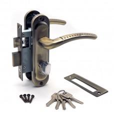 Замок врезной 50/106AB  с ручками на планке ключ-вертушка бронза ЦМВ70