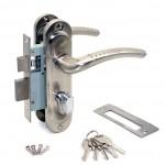 Замок врезной 50/106SN  с ручками на планке ключ-вертушка никель ЦМВ70
