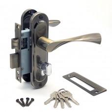 Замок врезной 50/76AB с ручками на планке ключ-вертушка бронза ЦМВ70