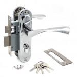 Замок врезной 50/76CP с ручками на планке ключ-ключ хром ЦМ