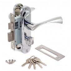 Замок врезной 50/76CP с ручками на планке ключ-вертушка хром ЦМВ70
