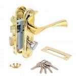 Замок врезной 50/76PB с ручками на планке ключ-вертушка золото ЦМВ70