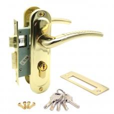 Замок врезной 50/106PB с ручками на планке ключ-ключ золото ЦМ