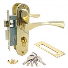 Замок врезной 50/76РВ с ручками на планке ключ-ключ золото ЦМ