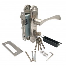 Замок врезной 50/76SN с ручками на планке ключ-вертушка никель ЦМВ70