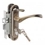 Замок врезной 50/76AB с ручками на планке ключ-ключ бронза ЦМ