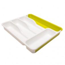 Лоток для столовых приборов раздвижной, зеленый-белый