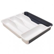 Лоток для столовых приборов раздвижной антрацит-белый