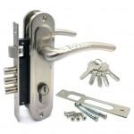 Замок врезной 61/106SN  с ручками на планке ключ-ключ никель