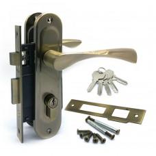 Замок врезной 61/76AB с ручками на планке ключ-ключ бронза