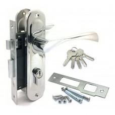 Замок врезной 61/76CP  с ручками на планке ключ-ключ хром