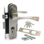 Замок врезной 61/76SN с ручками на планке ключ-ключ никель