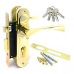 Замок врезной 61/76PB  с ручками на планке ключ-ключ золото
