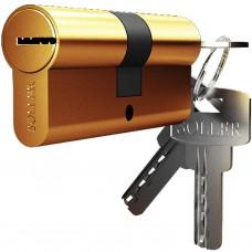 Механизм цилиндровый F5 золото (80мм, 5 ключей) латунь/металл, профильный ключ SOLLER Cu.С