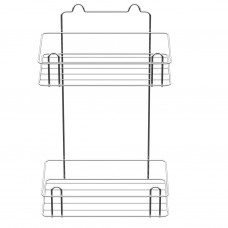 Полка для ванной прямая 2-х ярусная, цинк+хром зеркальный (вкп-1.2.4)