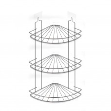 Полка для ванной угловая 3-х ярусная, радиальная мелкая краш.+хром зеркальный (вку-1.3.3)