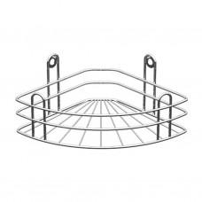 Полка для ванной угловая 1-но ярусная, радиальная глубокая, хром зеркальный (вку-3.1.3)