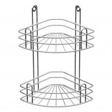 Полка для ванной угловая 2-х ярусная, радиальная глубокая, хром зеркальный (вку-3.2.3)