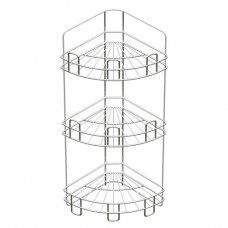 Полка для ванной угловая 3-х ярусная, напольно-настенная, хром зеркальный (вку-4.3.3)