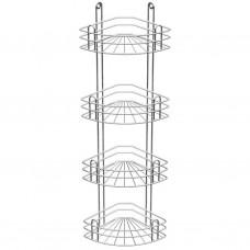 Полка для ванной угловая 4-х ярусная, радиальная глубокая, хром зеркальный (вку-3.4.3)