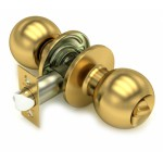 Ручка-защелка /кноб/ межкомнатная с ключем и фиксатором ЗШ-01 Эконом ETSB матовое золото