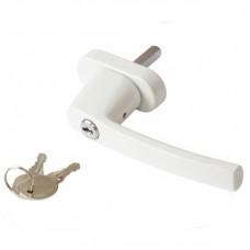 Ручка оконная с ключом, белая (WH008)