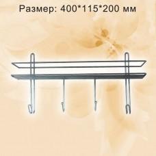 Полка прямоугольная 1 ярус,  с 4-мя крючками, хром, ППК-1/415