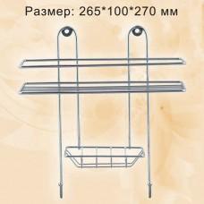 Полка прямоугольная 1 ярус, с мыльницей и вешалкой, хром ППМ-1