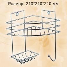 Полка угловая 1 ярусная,  с мыльницей и вешалкой,хром, ПУМ-1