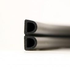 Уплотнитель самоклеющийся D-образный черный 12х10мм